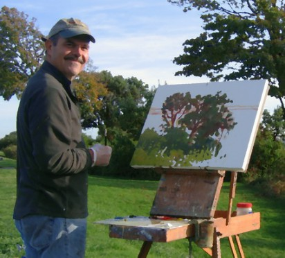 David Harrison painting the landscape. Commission process page for commissioning art from David Harrison